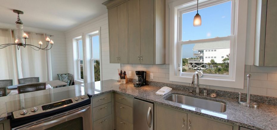 Beautiful kitchen with a view at Cape San Blas